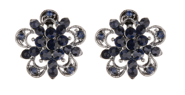 Clip On Earrings - Cotia - gunmetal grey stud earring with dark blue crystals