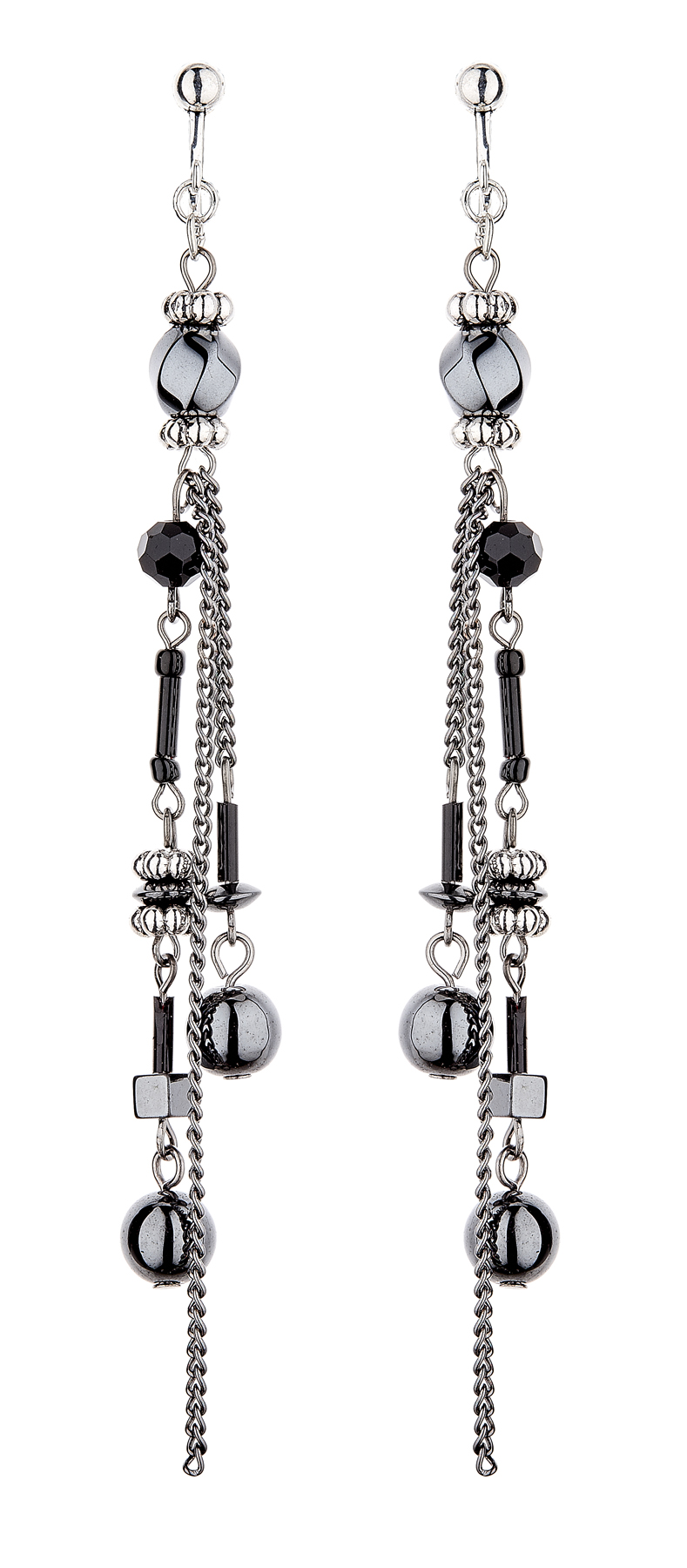 Clip On Earrings - Dakini - silver dangle earring with long black and grey chains
