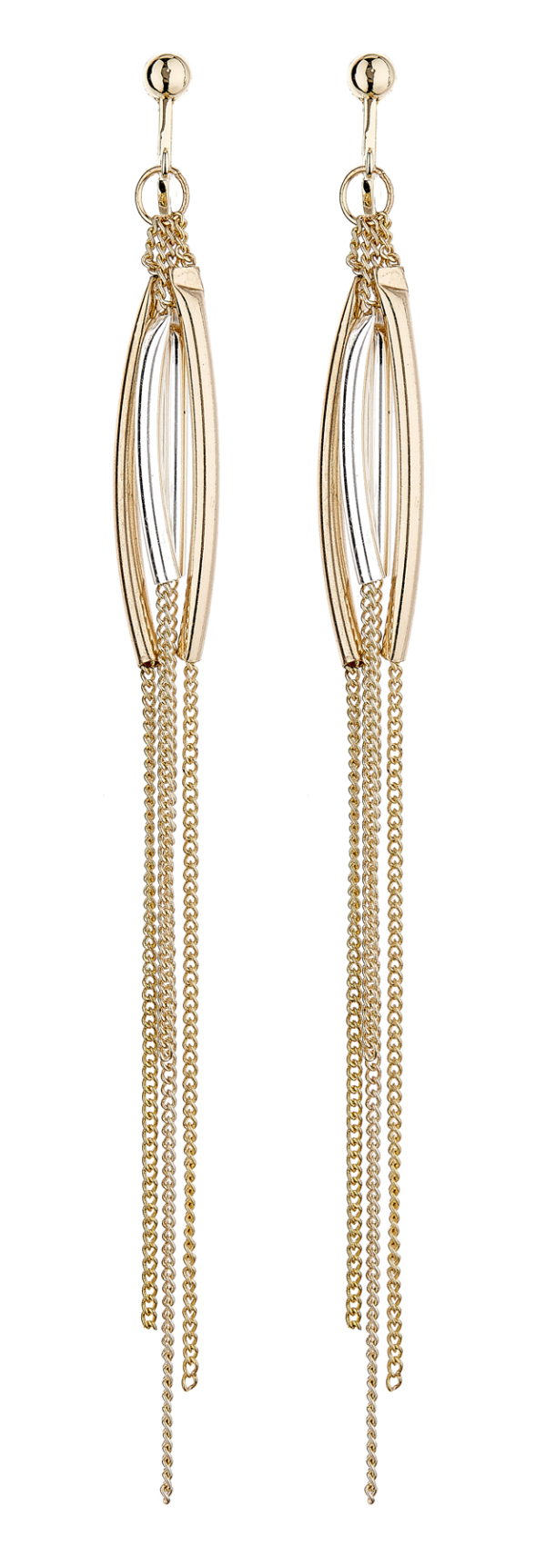 Clip On Earrings - Darcie - gold dangle earring with long chains