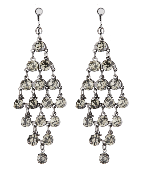 Clip On Earrings - Daring - gunmetal grey dangle earring with crystals