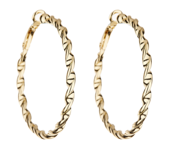 Clip On Earrings - Dawn G - gold hoop earring in a twisted rope design