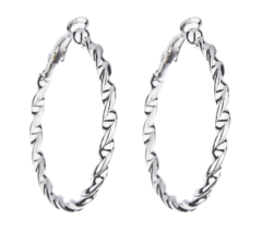Clip On Earrings - Dawn S - silver hoop earring in a twisted rope design