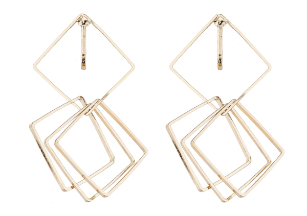 Clip On Earrings - Dea G - gold dangle earring with four linked squares