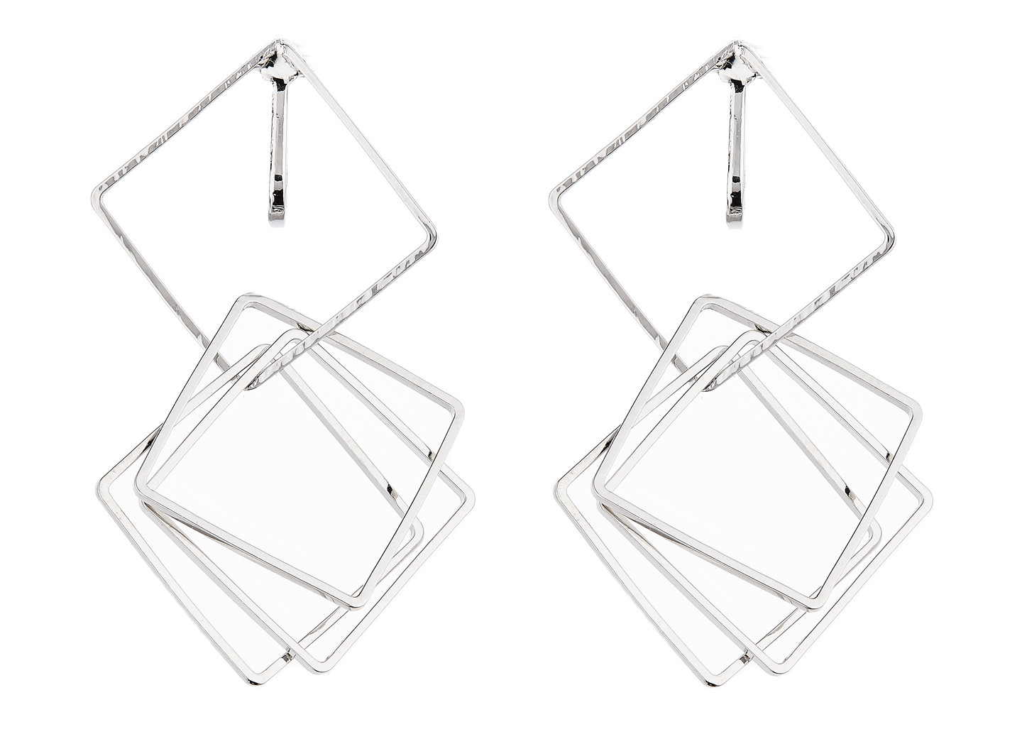 Clip On Earrings - Dea S - silver dangle earring with four linked squares