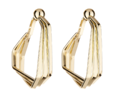 Clip On Earrings - Deka - gold hoop earring with three linked bands