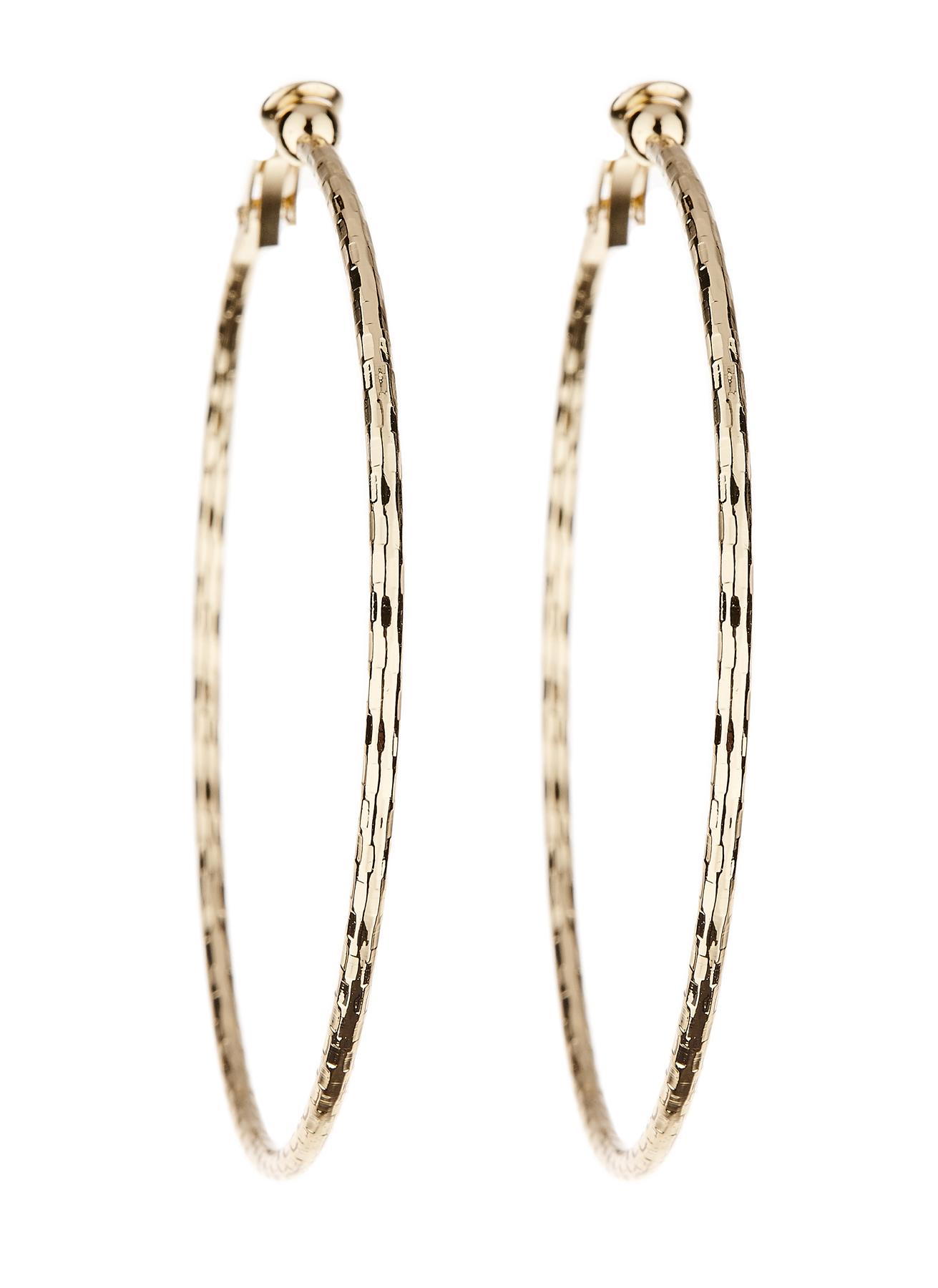 Clip On Earrings - Delia - gold hoop earring