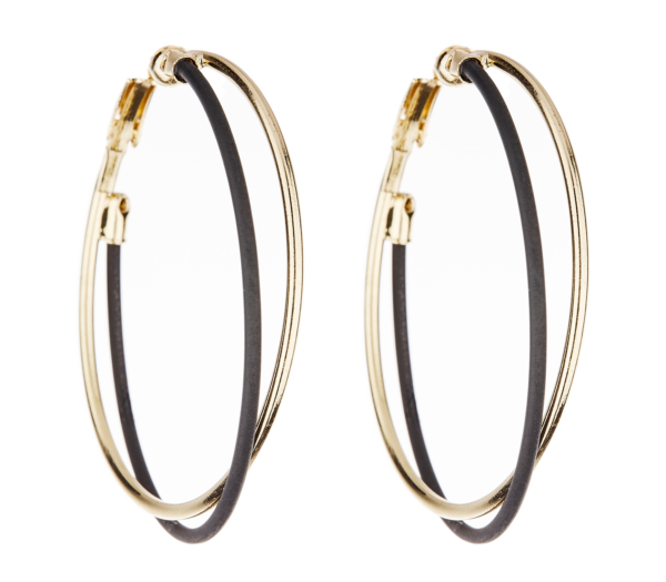 Clip On Earrings - Della - gold hoop earring with black and gold hoops