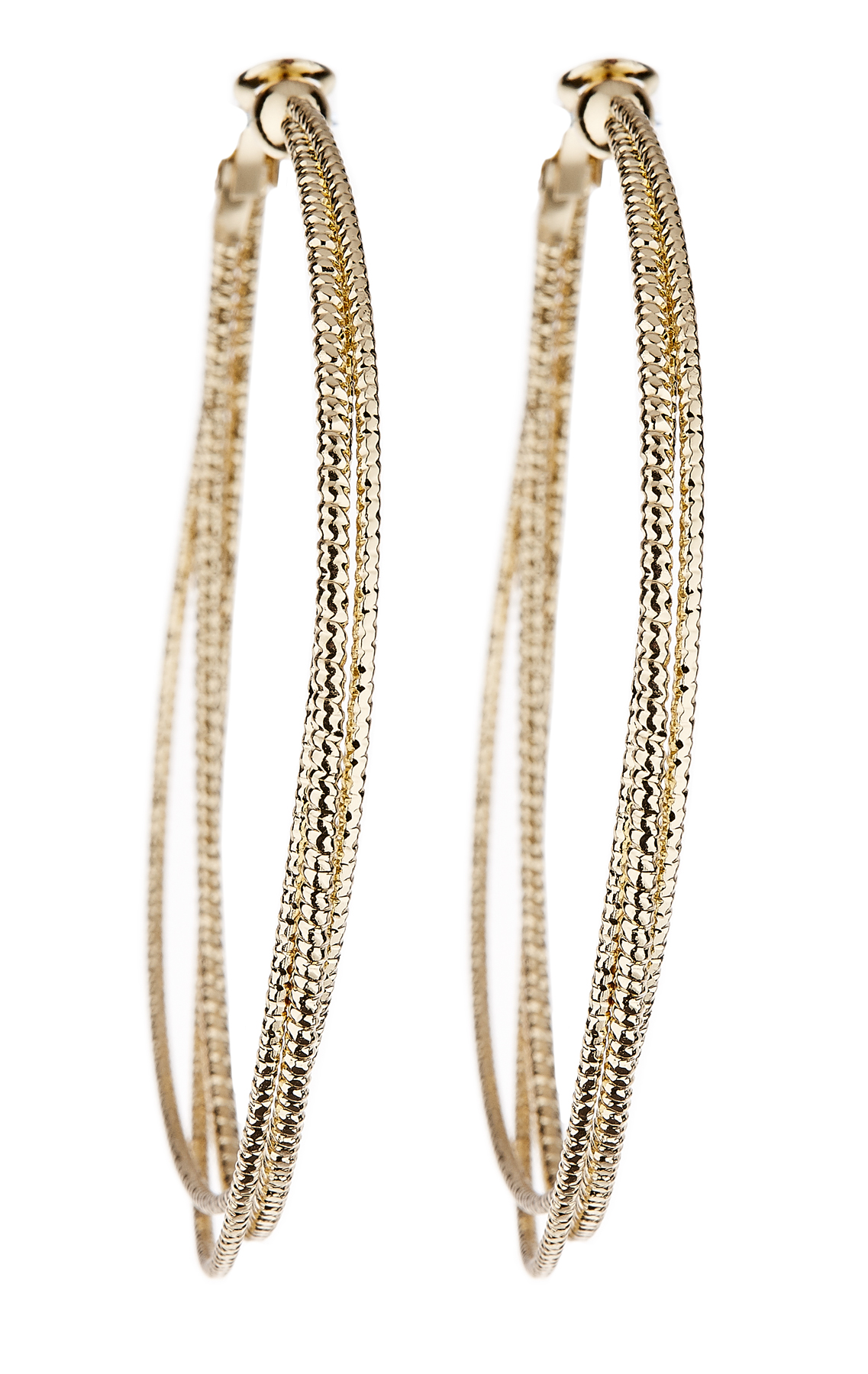 Clip On Earrings - Delta - gold hoop earring with three gold hoops
