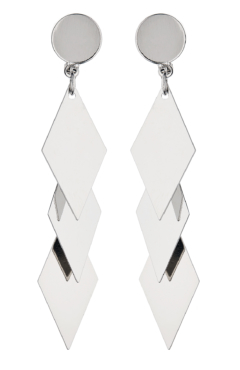Clip On Earrings - Kallie S - silver drop earring with three linked diamond shapes