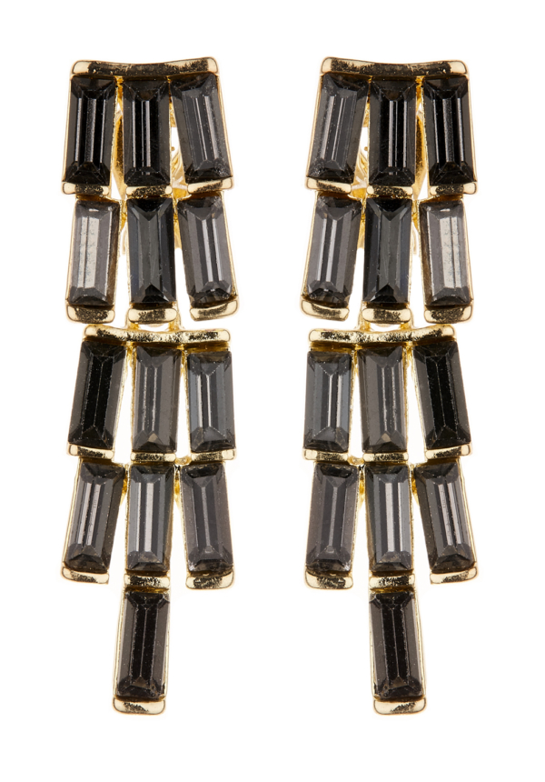 Clip On Earrings - Kamea - gold drop earring with black crystal stones