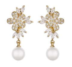 Clip On Earrings - Nalo G - gold luxury drop earring with a pearl and cubic zirconia stones