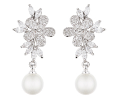 Clip On Earrings - Nalo S - silver luxury drop earring with a pearl and cubic zirconia stones