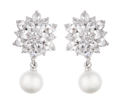 Clip On Earrings - Nancy S - silver luxury drop earring with cubic zirconia stones and a pearl