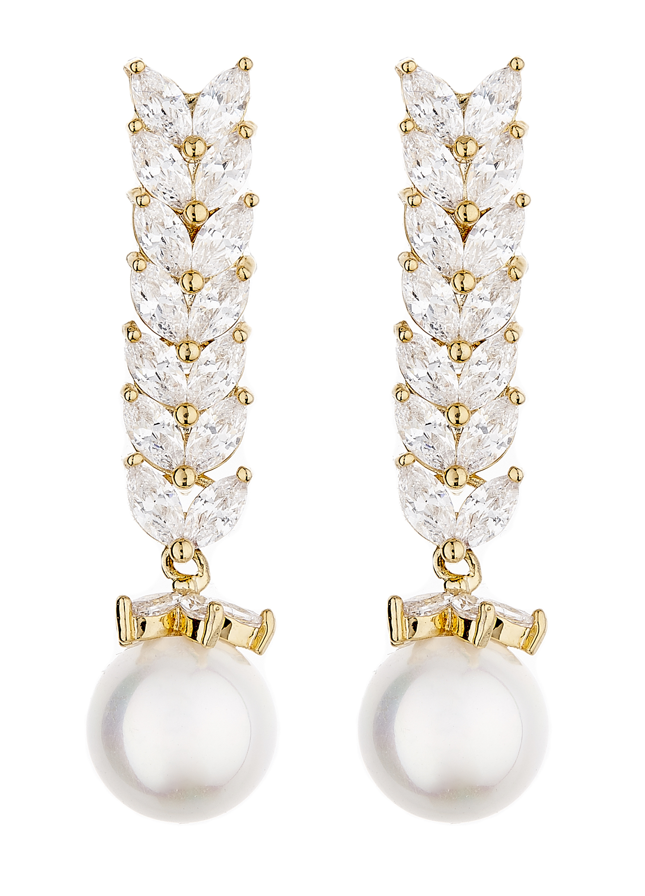 Clip On Earrings - Naomi G - gold luxury drop earring with a pearl and cubic zirconia stones