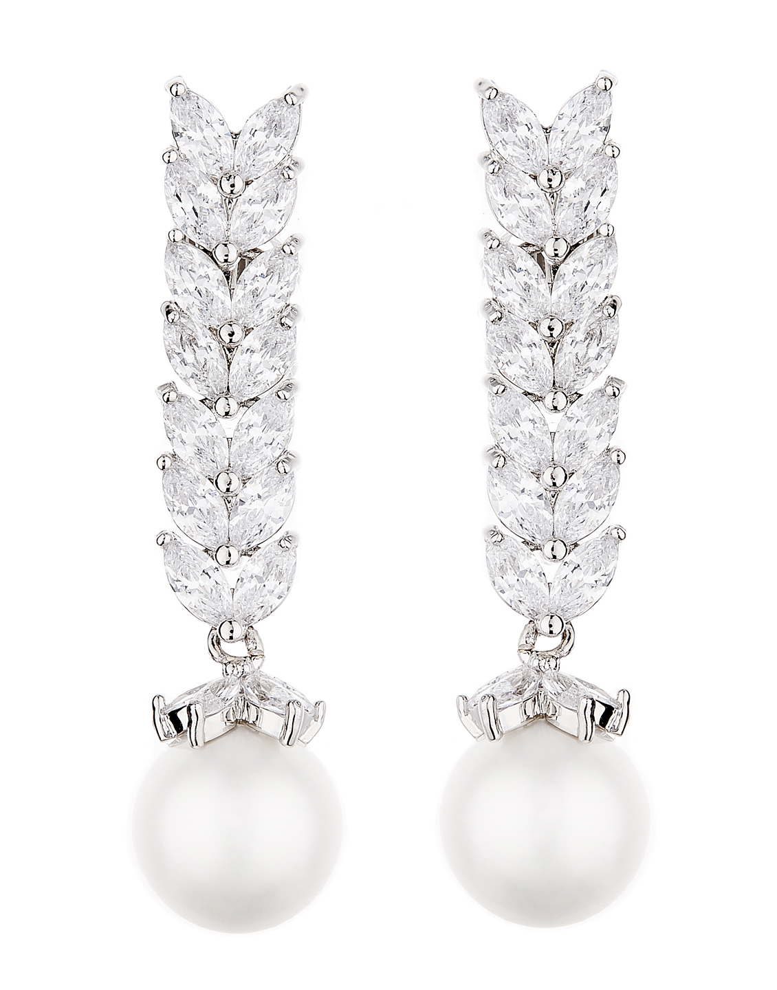 Clip On Earrings - Naomi S - silver luxury drop earring with a pearl and cubic zirconia stones