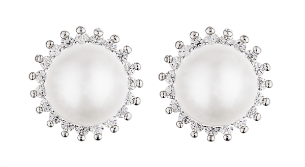 Clip On Earrings - Neha - silver luxury stud earring with a central pearl and crystals