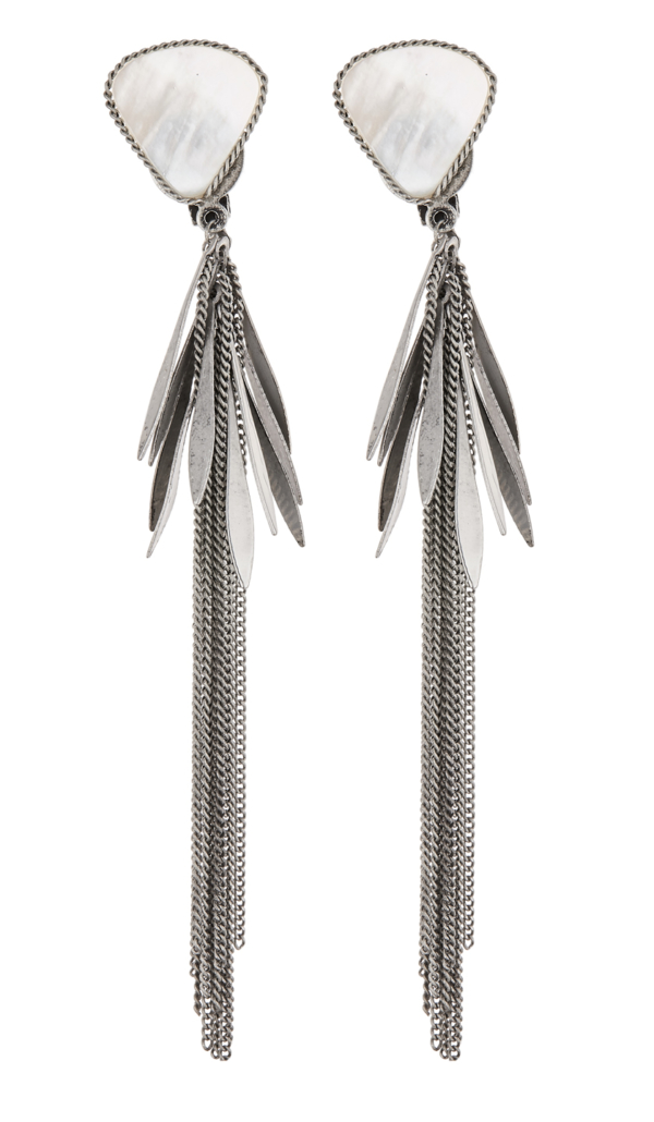 Clip On Earrings - Darby - silver dangle earring with linked strands