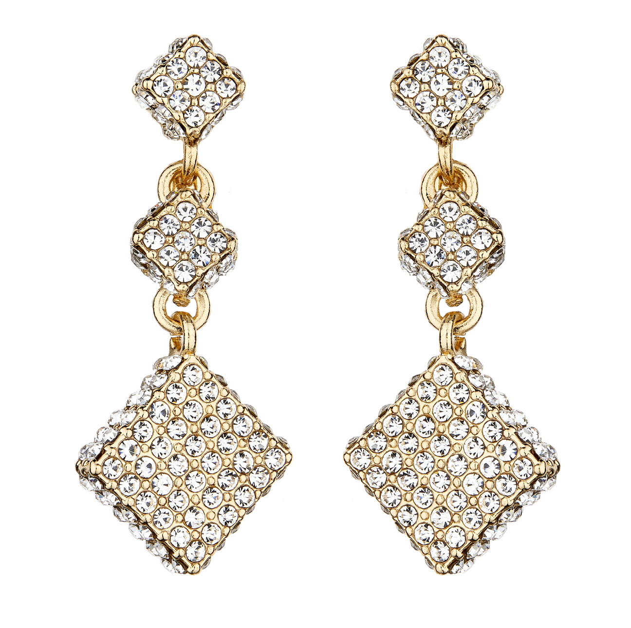 Clip On Earrings - Bolbe - gold dangle earring with two linked clear crystal cubes and square
