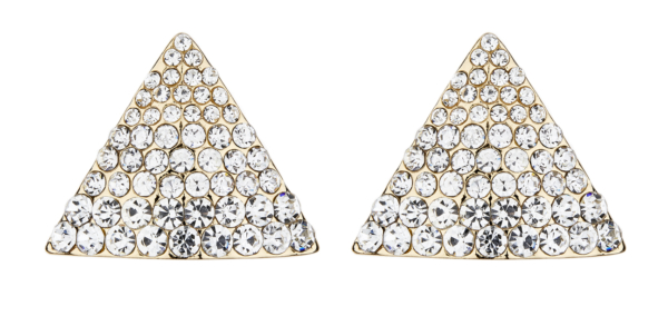 Clip On Earrings - Binta - gold triangle stud earring with clear crystals