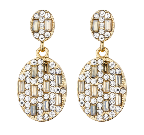 Clip On Earrings - Botan - gold dangle earring with clear and gold crystals