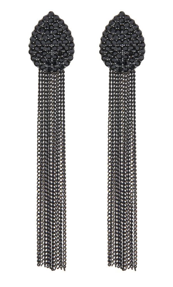 Clip On Earrings - Brook - black crystal teardrop earring with black chain fringe