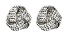 Clip On Earrings - Honey S - silver knot stud earring with rhinestone crystals