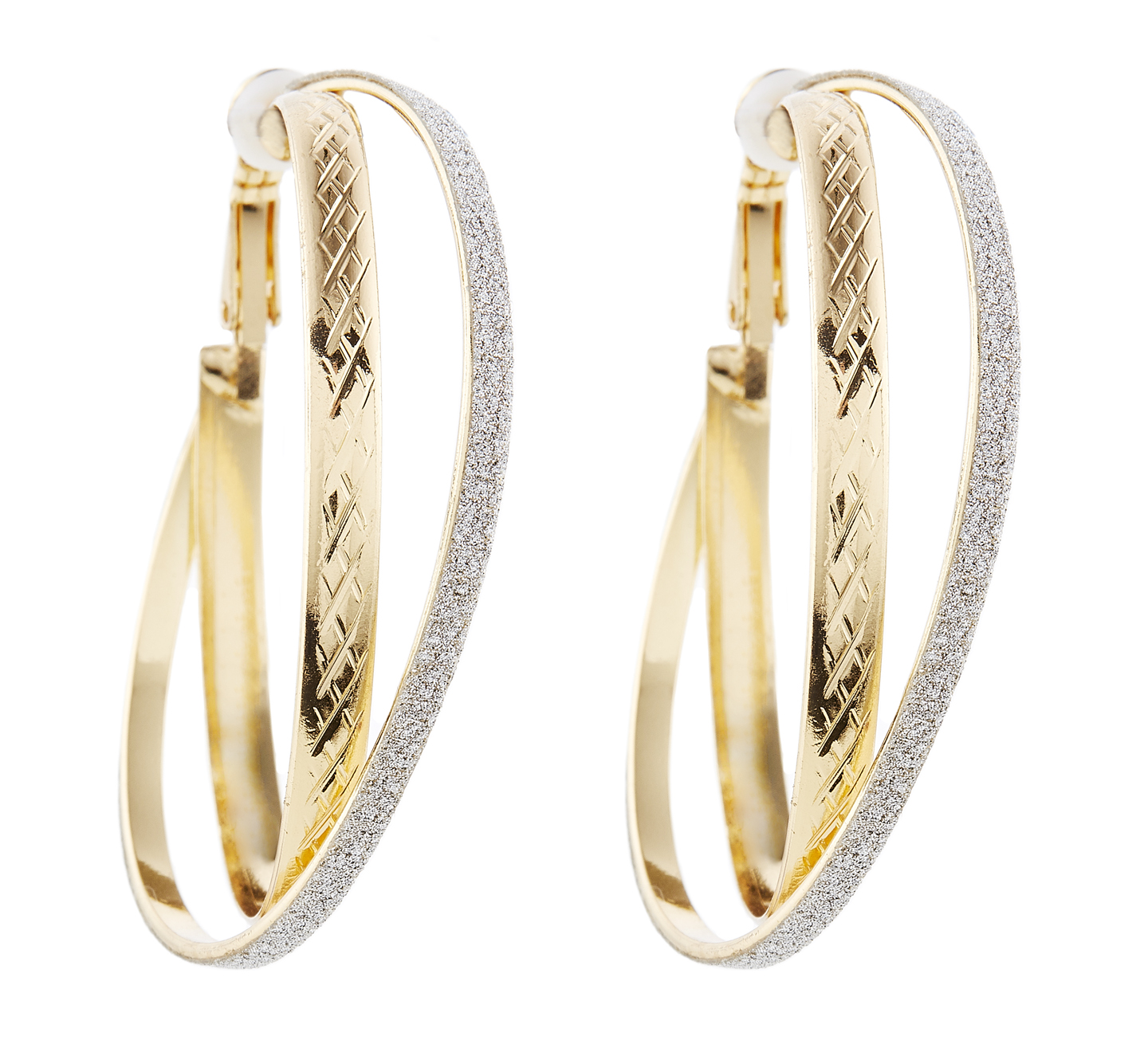 Clip On Hoop Earrings - Kanti G - gold earring with two hoops