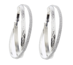 Clip On Hoop Earrings - Kanti S - silver earring with two hoops