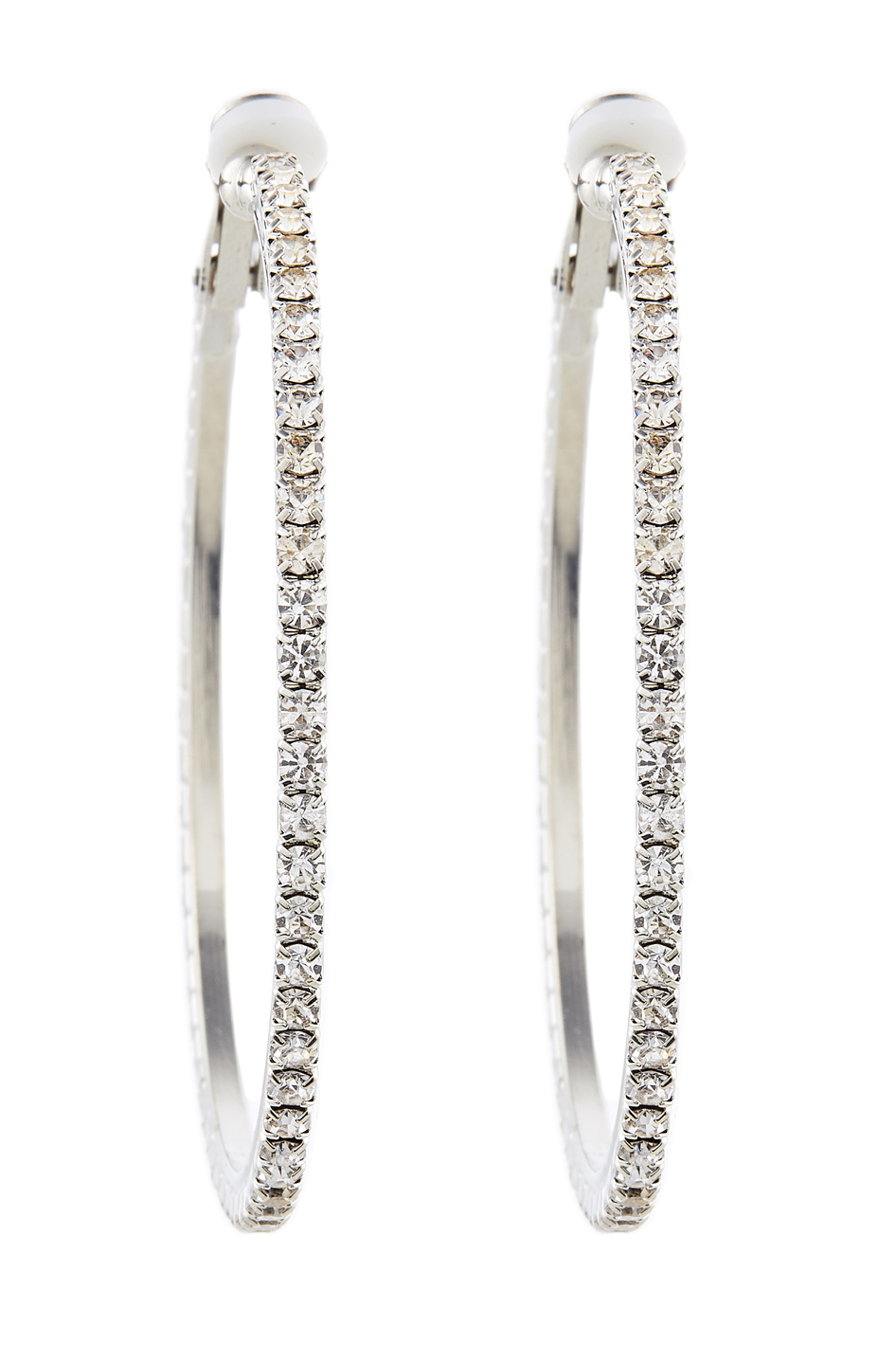 Clip On Earrings - Karina S - silver hoops with clear crystals