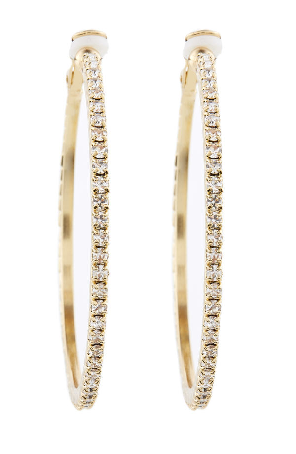Clip On Earrings - Karina G - gold hoops with clear crystals