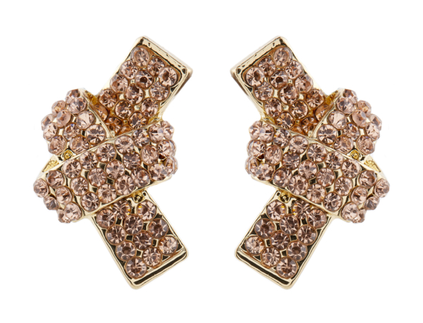Clip On Earrings - Kalwa - gold knot stud earring with rhinestone crystals