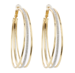 Clip On Hoop Earrings - Kanda G - gold earring with three hoops