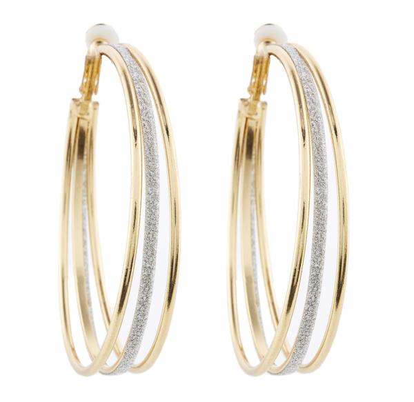 Clip On Hoop Earrings - Kanda G - gold earring with three hoops