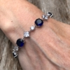 Bracelet – silver with navy blue Cubic Zirconia Stones and clear crystals – Narda