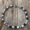 Bracelet – silver with black and clear Cubic Zirconia Stones – Nasha