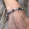 Bracelet – silver with black Cubic Zirconia Stones and clear crystals – Nasnan