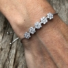 Silver Bracelet – adjustable sliding clasp with sparkling Cubic Zirconia crystals – Nicci