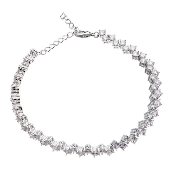 Silver Tennis Bracelet - lobster clasp with Cubic Zirconia Stones - Nava