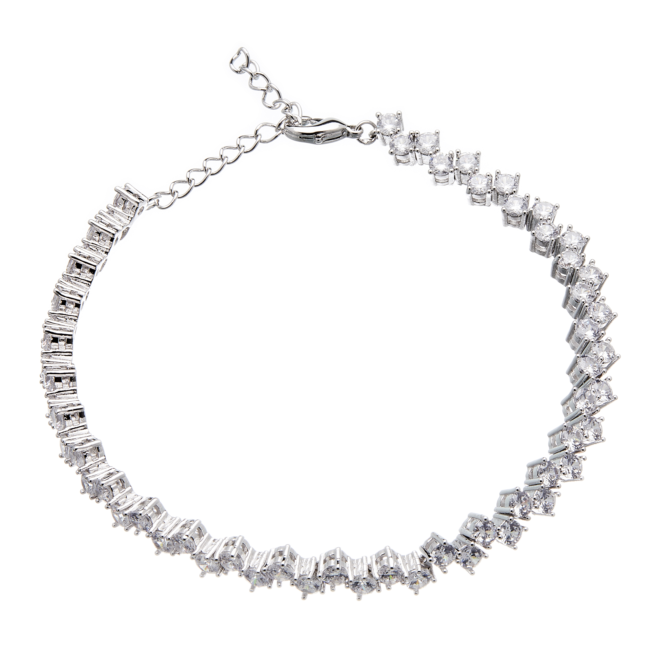 Silver Tennis Bracelet - lobster clasp with Cubic Zirconia Stones - Nava