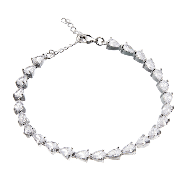 Silver Tennis Bracelet - lobster clasp with sparkling Cubic Zirconia Stones - Naia