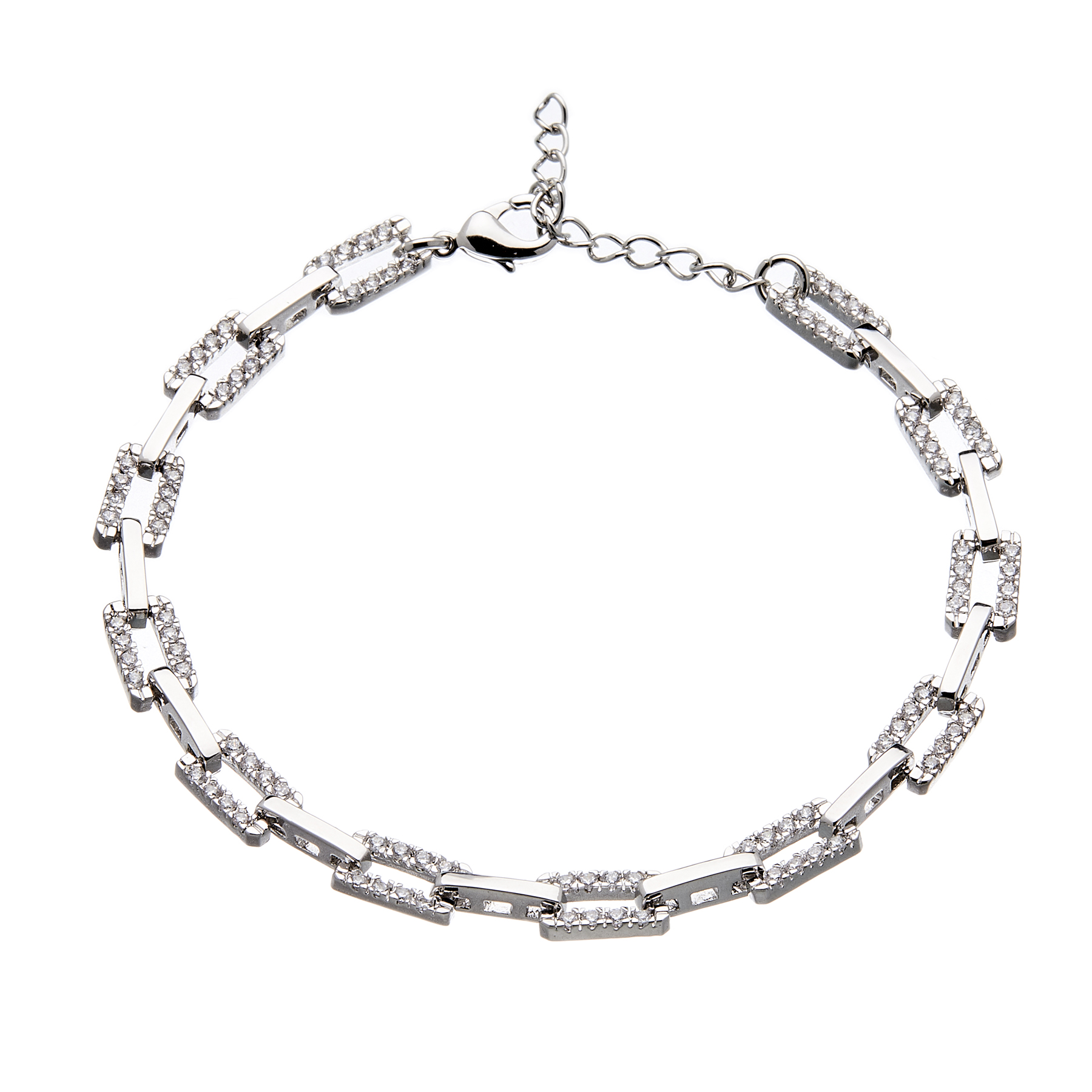 Silver linked bracelet with clear crystals - Navit