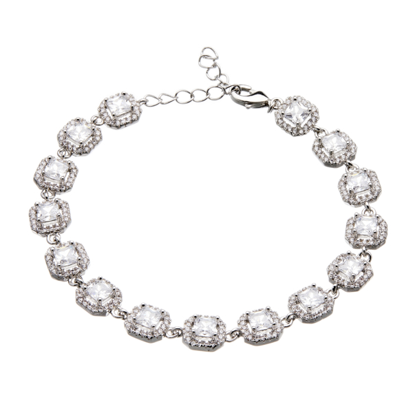Silver luxury Bracelet - lobster clasp with sparkling Cubic Zirconia Stones and crystals - Nads