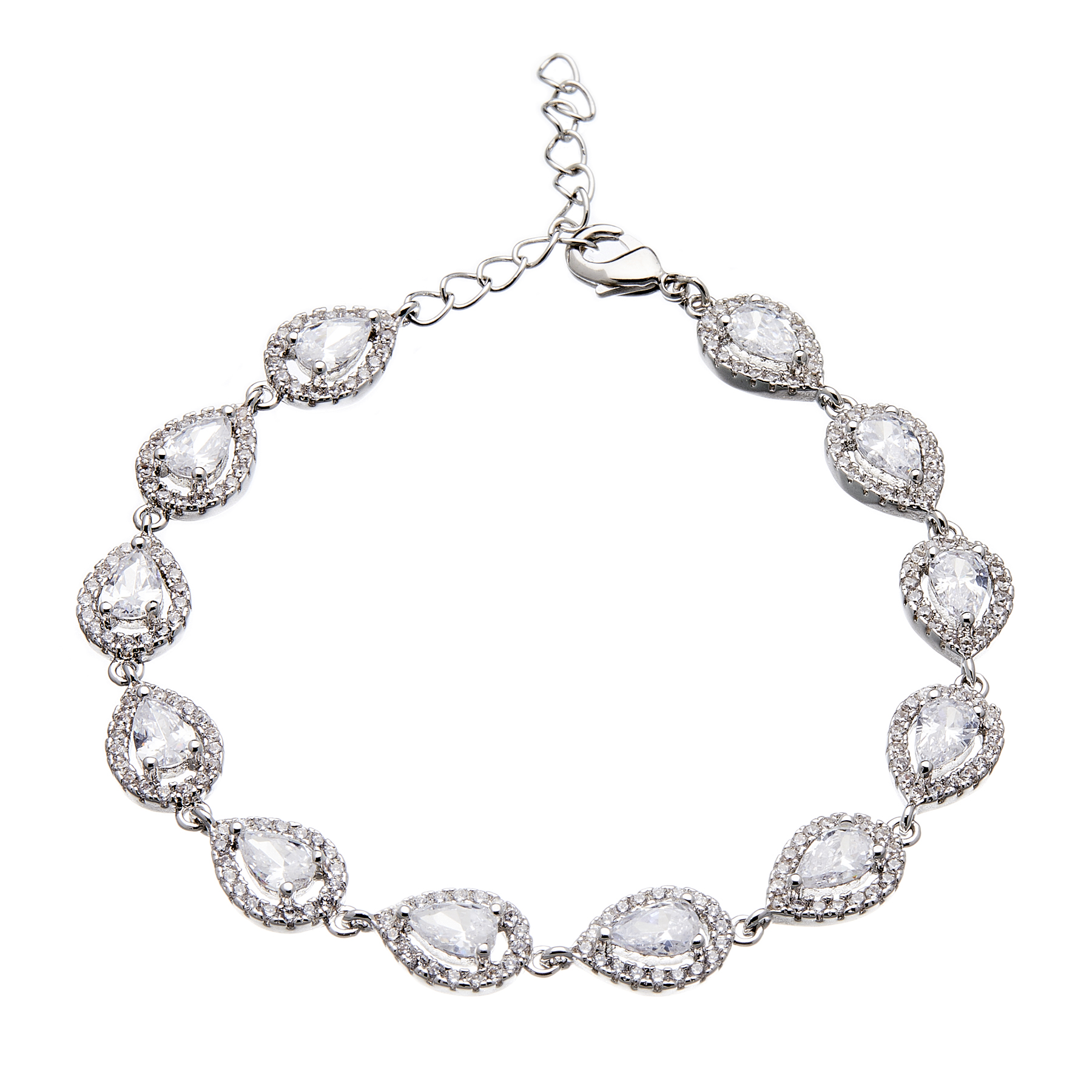 Luxury Bracelet - silver with sparkling Cubic Zirconia Stones and crystals - Nadet
