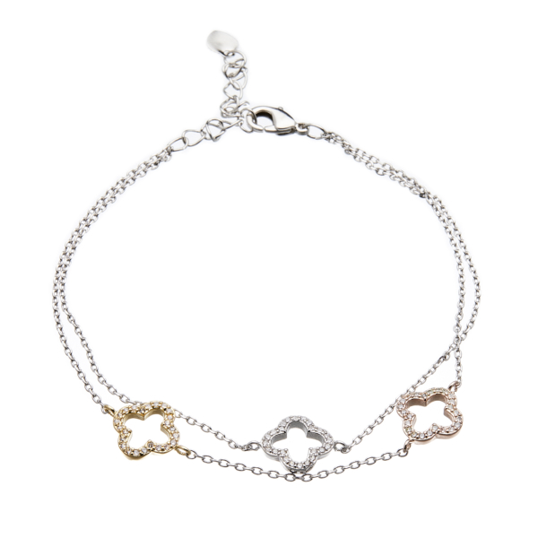 Silver fine double chain Bracelet with crystals set in gold, silver and rose gold - Nakee