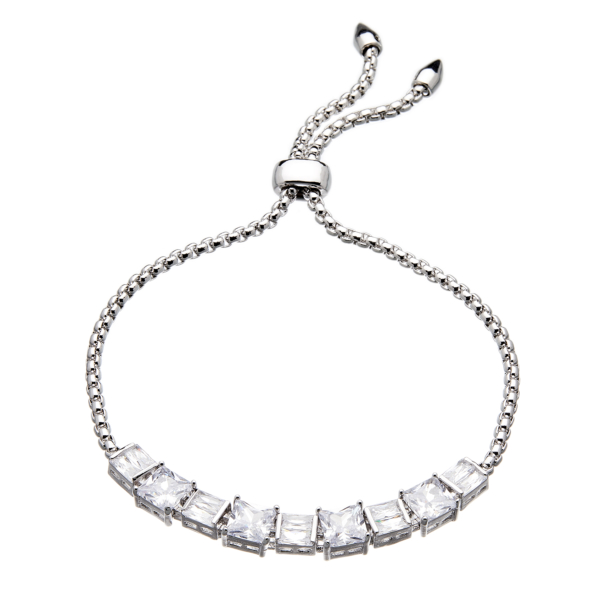 Silver strand Bracelet - adjustable sliding clasp with nine Cubic Zirconia Stones - Nadra