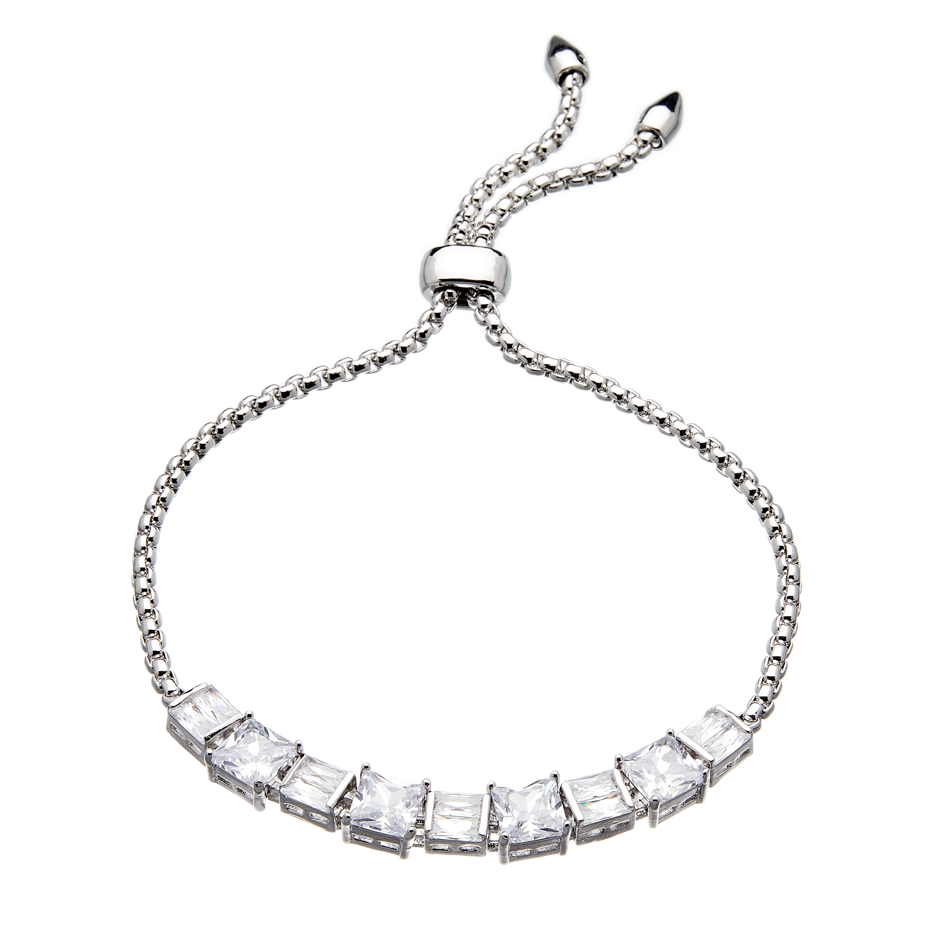 Silver strand Bracelet - adjustable sliding clasp with nine Cubic Zirconia Stones - Nadra