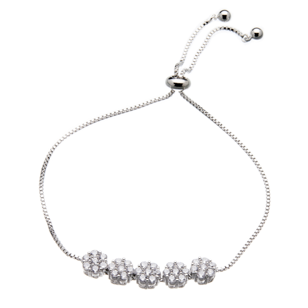 Silver Bracelet - adjustable sliding clasp with sparkling Cubic Zirconia crystals - Nicci