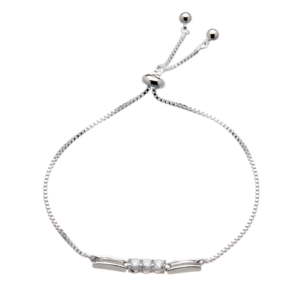 Silver Bracelet - adjustable sliding clasp with sparkling Cubic Zirconia crystals - Nyda