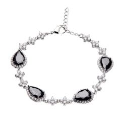 Bracelet - silver with black Cubic Zirconia Stones and clear crystals - Nera