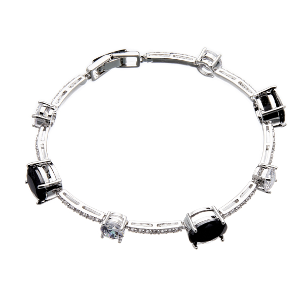 Bracelet - silver with black Cubic Zirconia Stones and clear crystals - Nerio